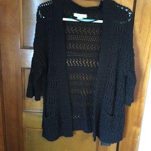Anthropologie Black Crochet Open Cardigan